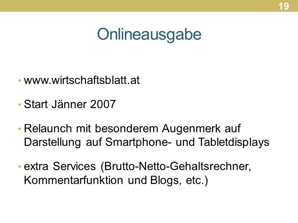 Onlineausgabe www.wirtschaftsblatt.at Start Jänner 2007