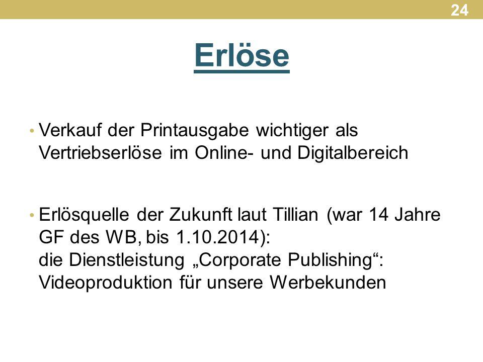24 Erlöse. Verkauf der Printausgabe wichtiger als Vertriebserlöse im Online- und Digitalbereich.