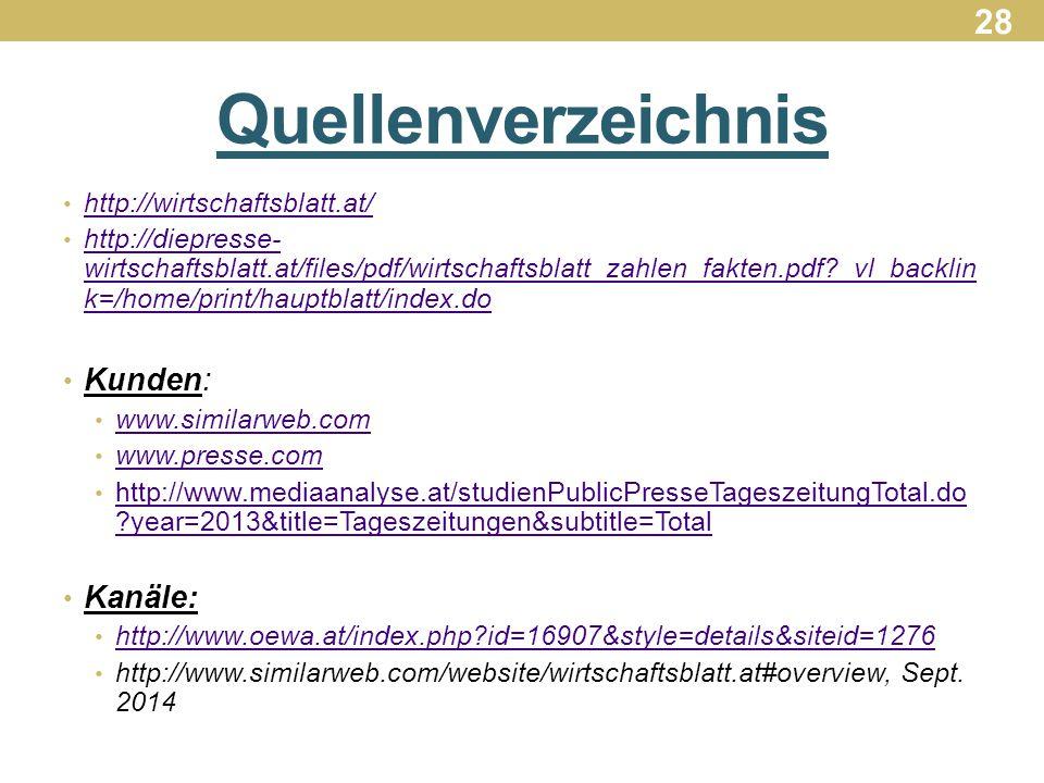 Quellenverzeichnis 28 Kunden: Kanäle: http://wirtschaftsblatt.at/