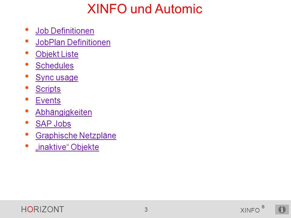 XINFO und Automic Job Definitionen JobPlan Definitionen Objekt Liste