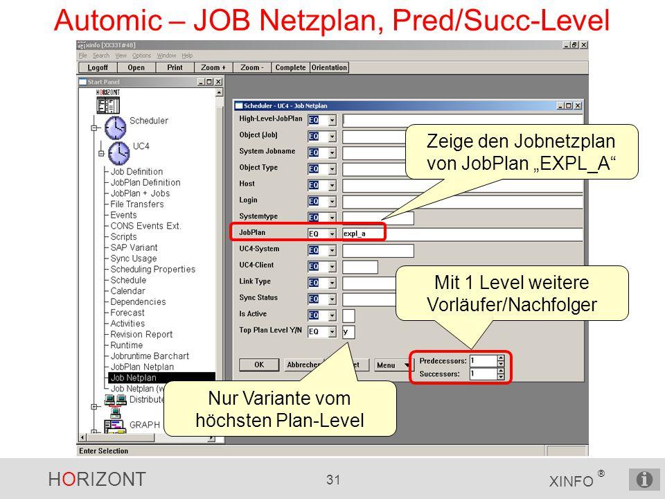 Automic – JOB Netzplan, Pred/Succ-Level