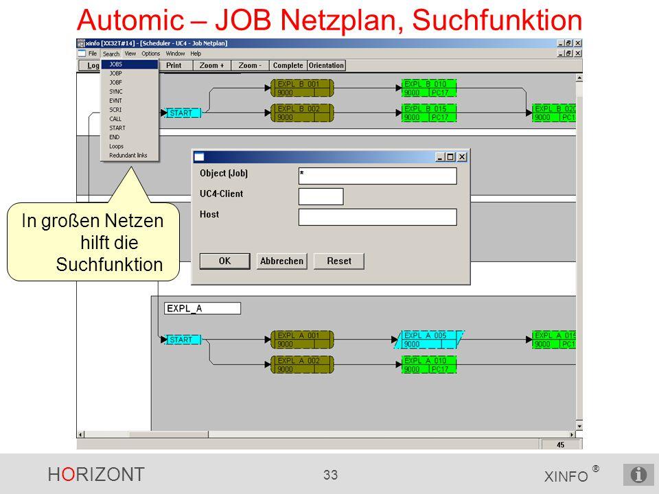 Automic – JOB Netzplan, Suchfunktion
