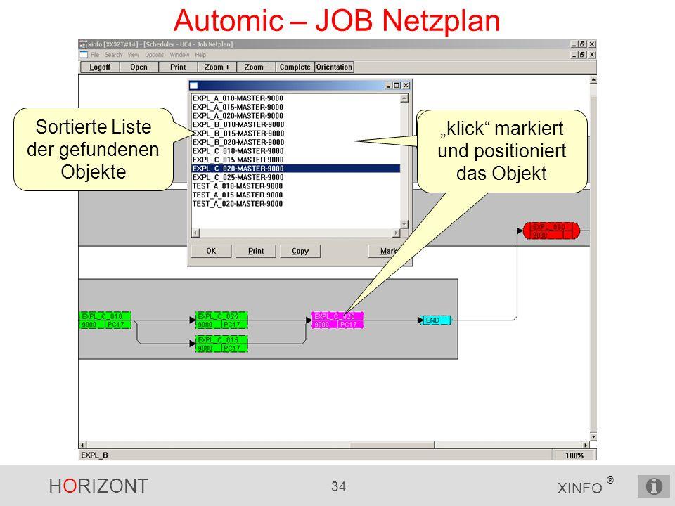Automic – JOB Netzplan Sortierte Liste der gefundenen Objekte