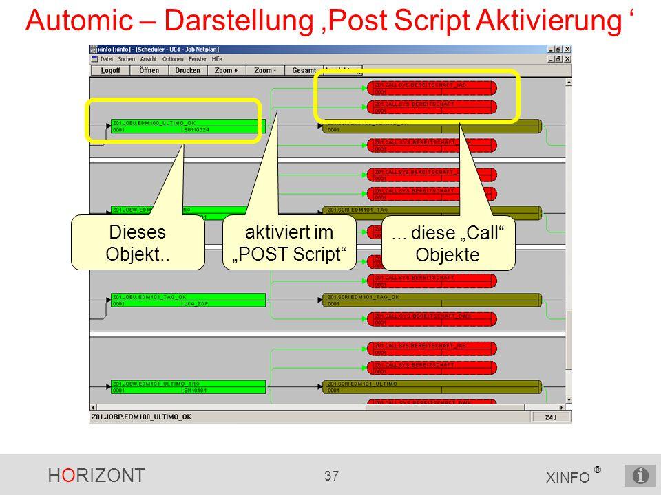 Automic – Darstellung 'Post Script Aktivierung '