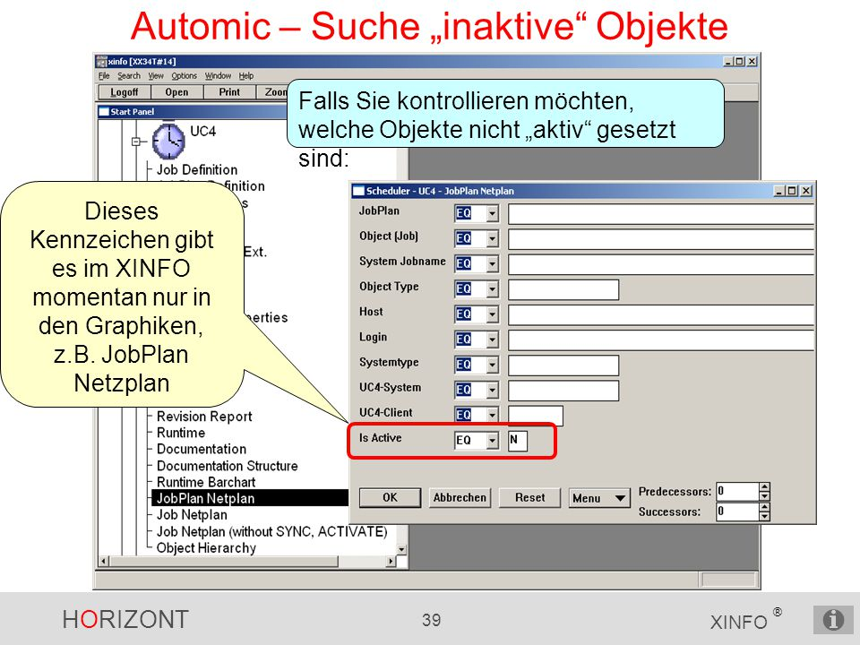 "Automic – Suche ""inaktive Objekte"