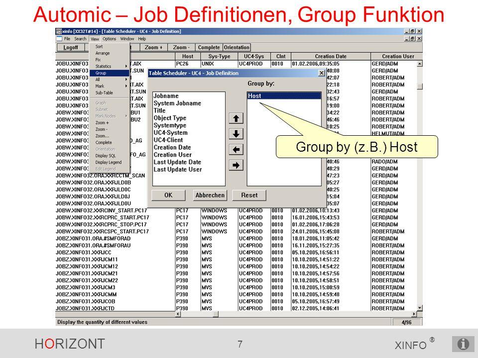 Automic – Job Definitionen, Group Funktion