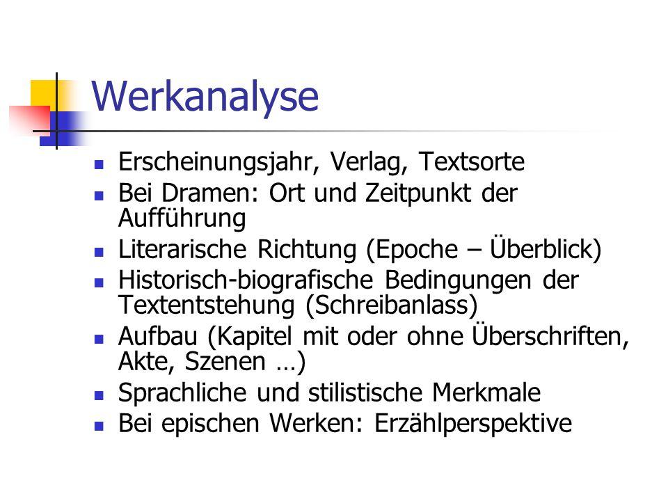 Werkanalyse Erscheinungsjahr, Verlag, Textsorte