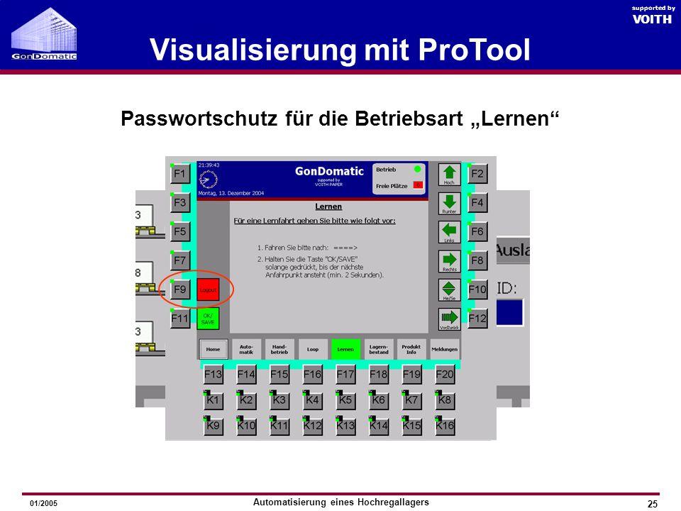 """Visualisierung mit ProTool Passwortschutz für die Betriebsart """"Lernen"""