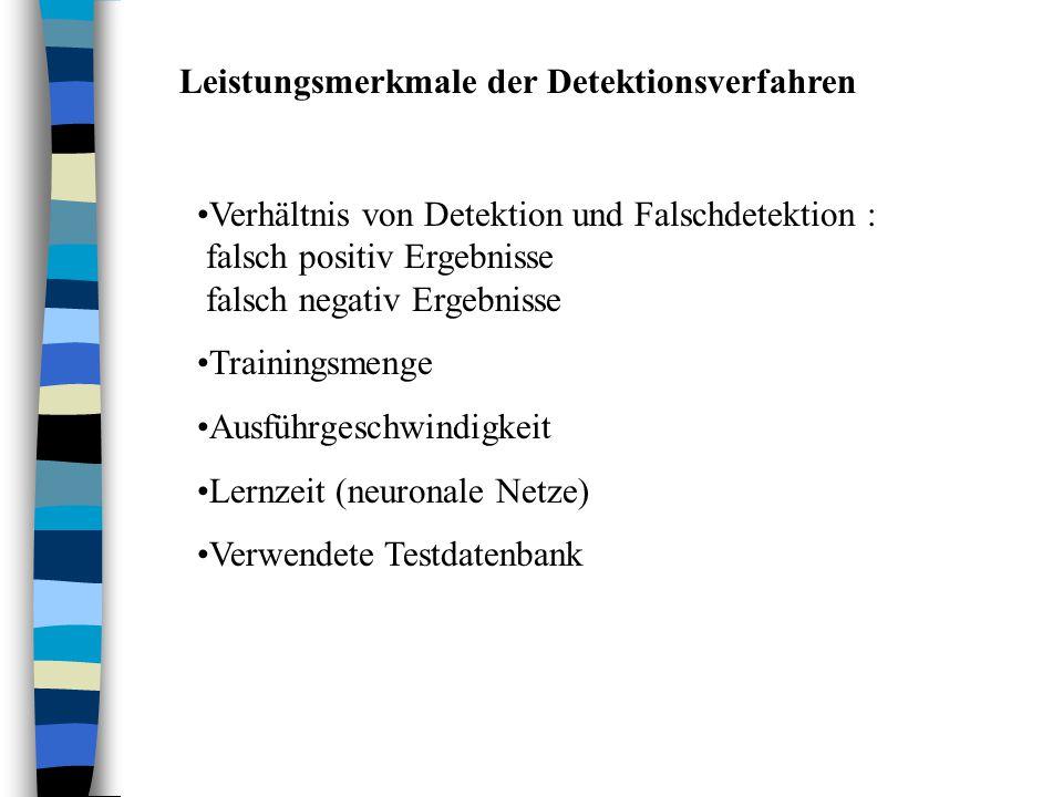 Leistungsmerkmale der Detektionsverfahren