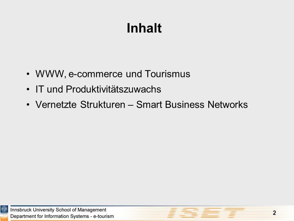 Inhalt WWW, e-commerce und Tourismus IT und Produktivitätszuwachs