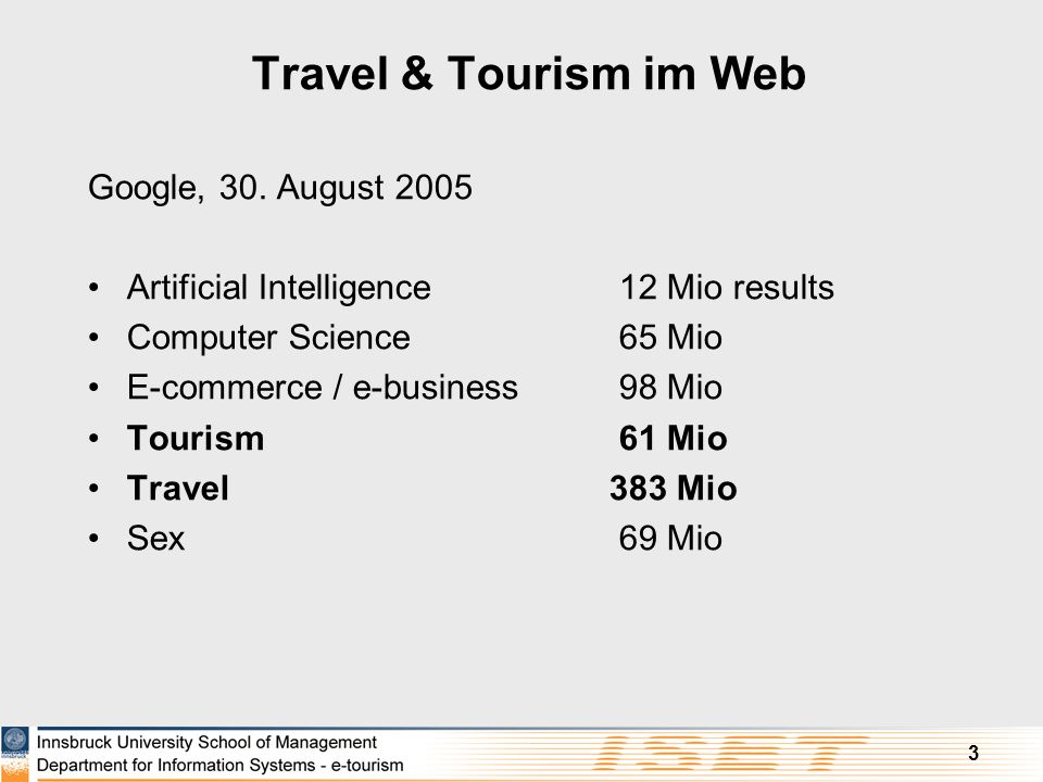 Travel & Tourism im Web Google, 30. August 2005