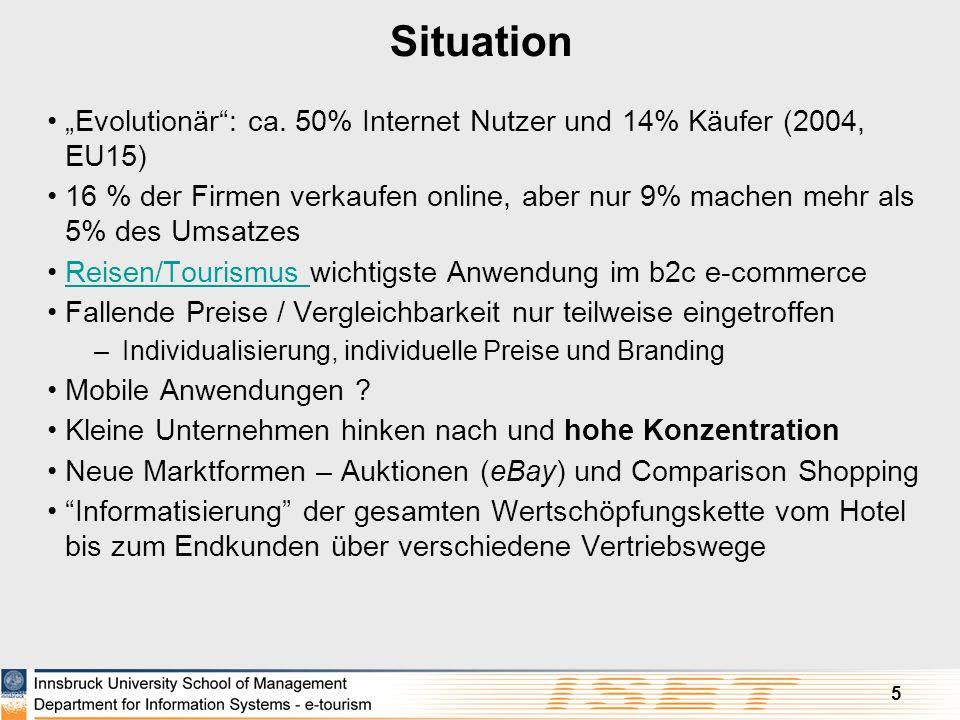 "Situation ""Evolutionär : ca. 50% Internet Nutzer und 14% Käufer (2004, EU15)"