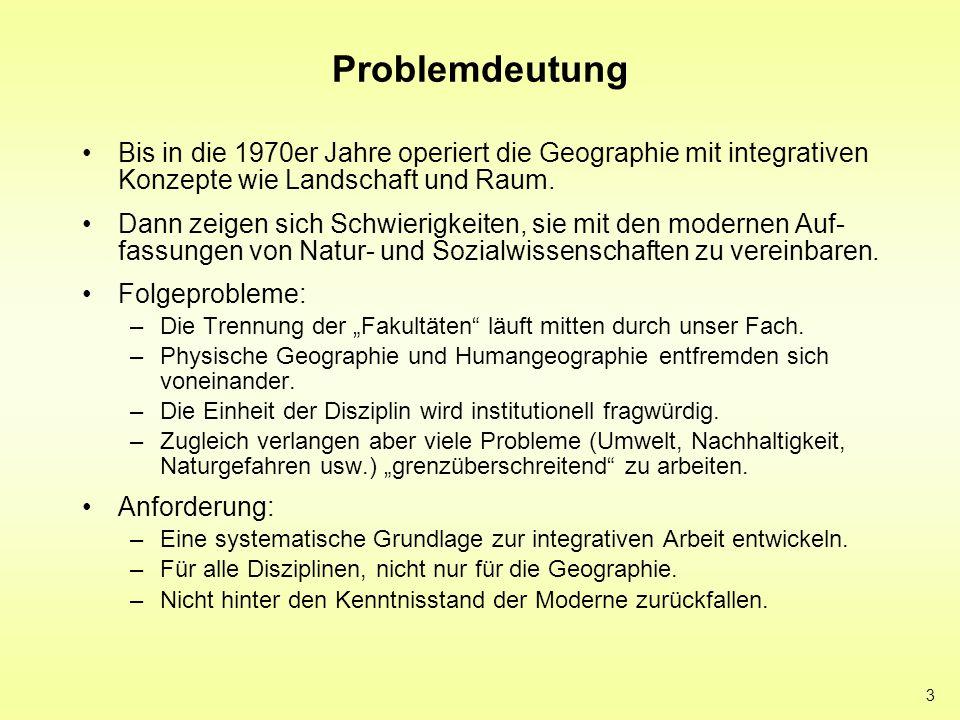 Problemdeutung Bis in die 1970er Jahre operiert die Geographie mit integrativen Konzepte wie Landschaft und Raum.