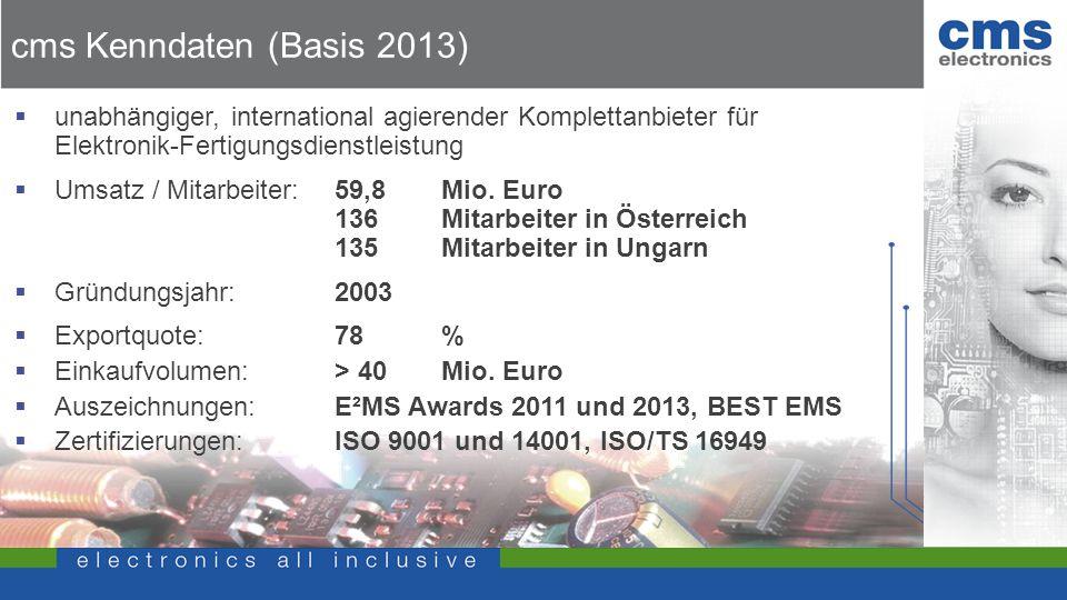 cms Kenndaten (Basis 2013) unabhängiger, international agierender Komplettanbieter für Elektronik-Fertigungsdienstleistung.