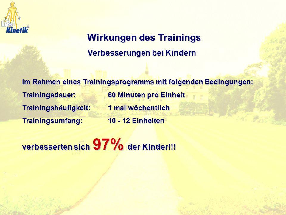 Wirkungen des Trainings Verbesserungen bei Kindern