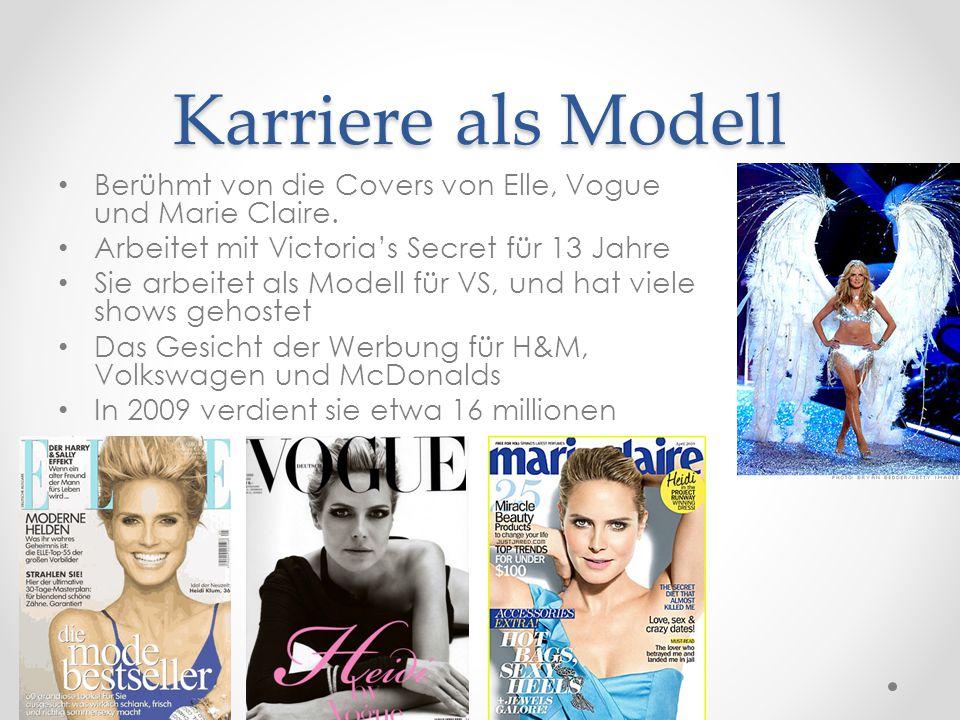 Karriere als Modell Berühmt von die Covers von Elle, Vogue und Marie Claire. Arbeitet mit Victoria's Secret für 13 Jahre.