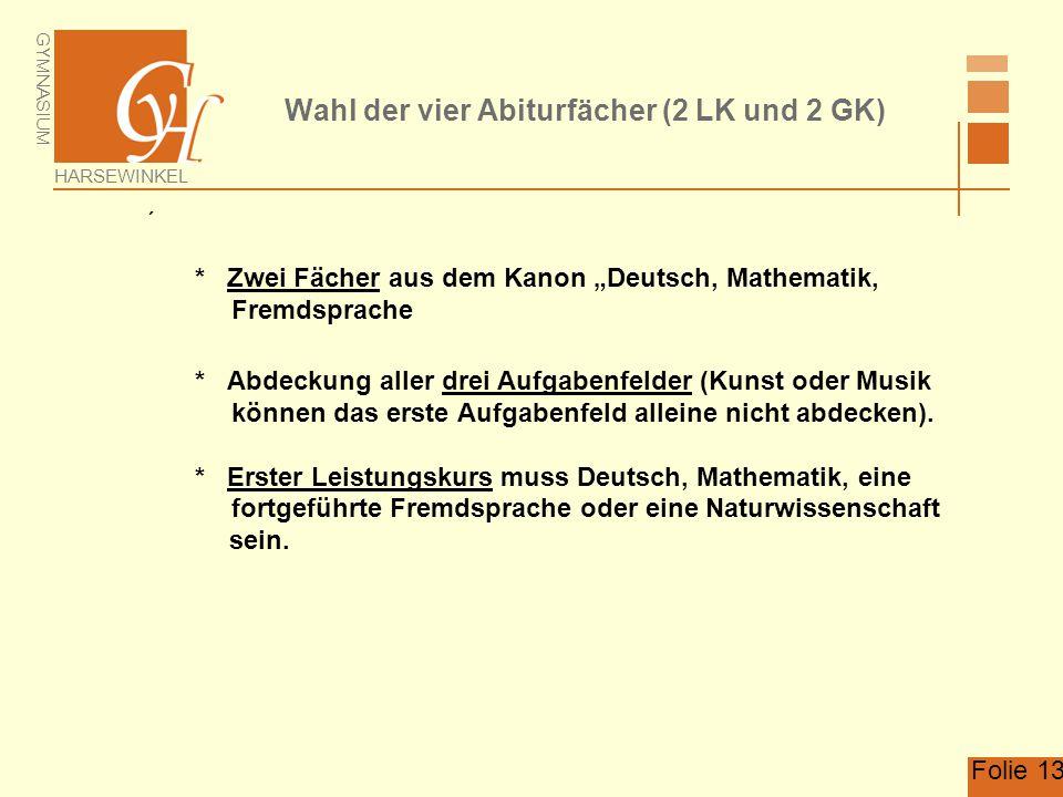 Wahl der vier Abiturfächer (2 LK und 2 GK)