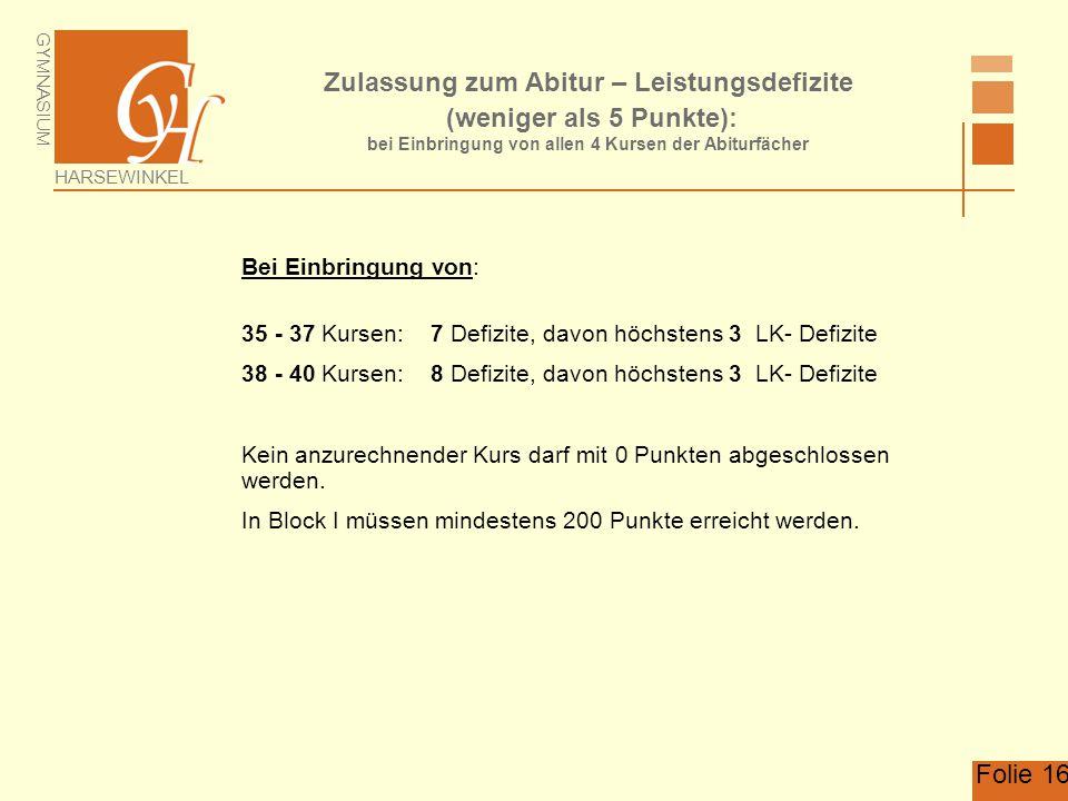 Zulassung zum Abitur – Leistungsdefizite (weniger als 5 Punkte): bei Einbringung von allen 4 Kursen der Abiturfächer