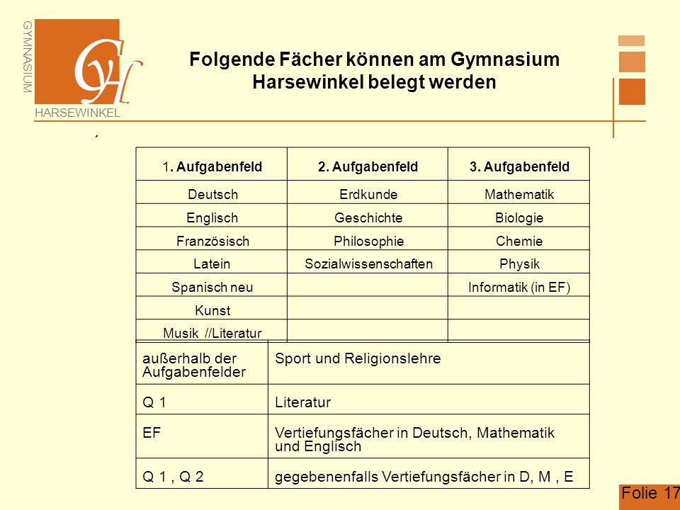 Folgende Fächer können am Gymnasium Harsewinkel belegt werden