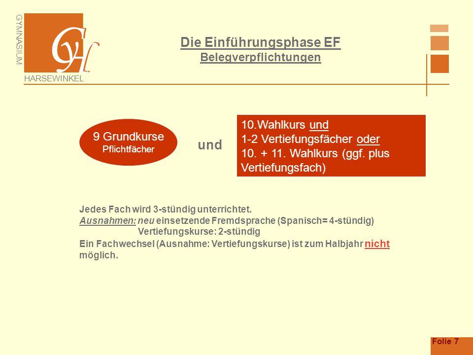Die Einführungsphase EF Belegverpflichtungen