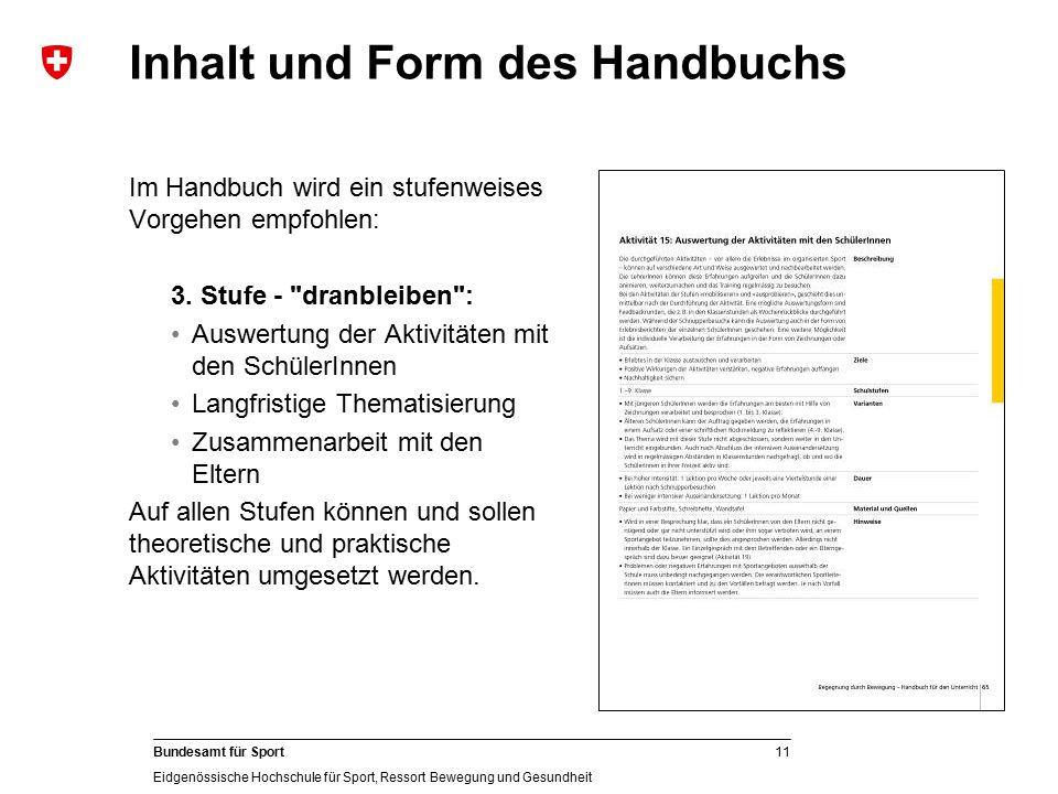 Inhalt und Form des Handbuchs