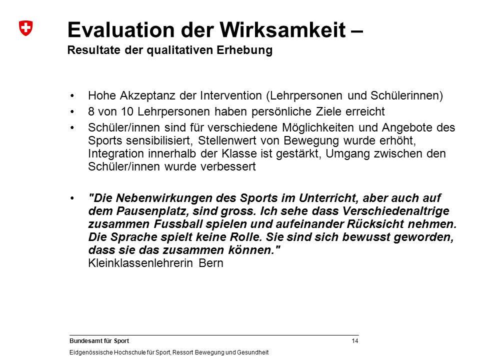 Evaluation der Wirksamkeit – Resultate der qualitativen Erhebung