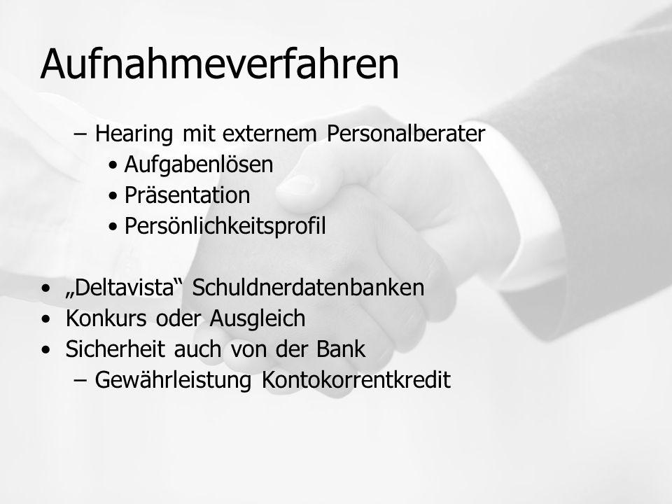 Aufnahmeverfahren Hearing mit externem Personalberater Aufgabenlösen