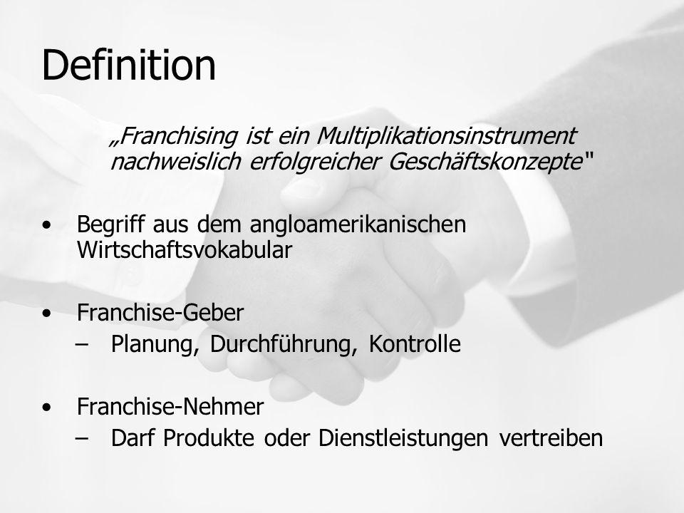 """Definition """"Franchising ist ein Multiplikationsinstrument nachweislich erfolgreicher Geschäftskonzepte"""