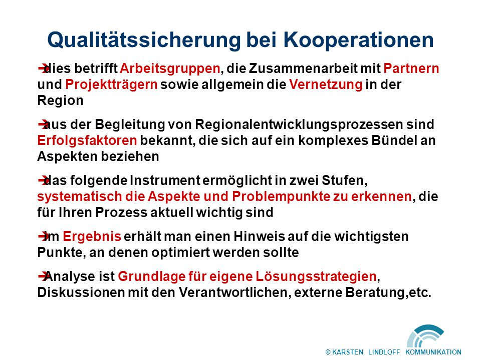 Qualitätssicherung bei Kooperationen