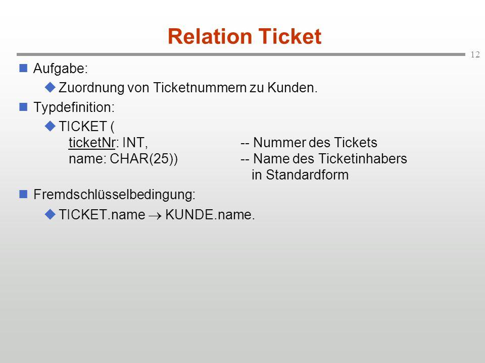 Relation Ticket Aufgabe: Zuordnung von Ticketnummern zu Kunden.