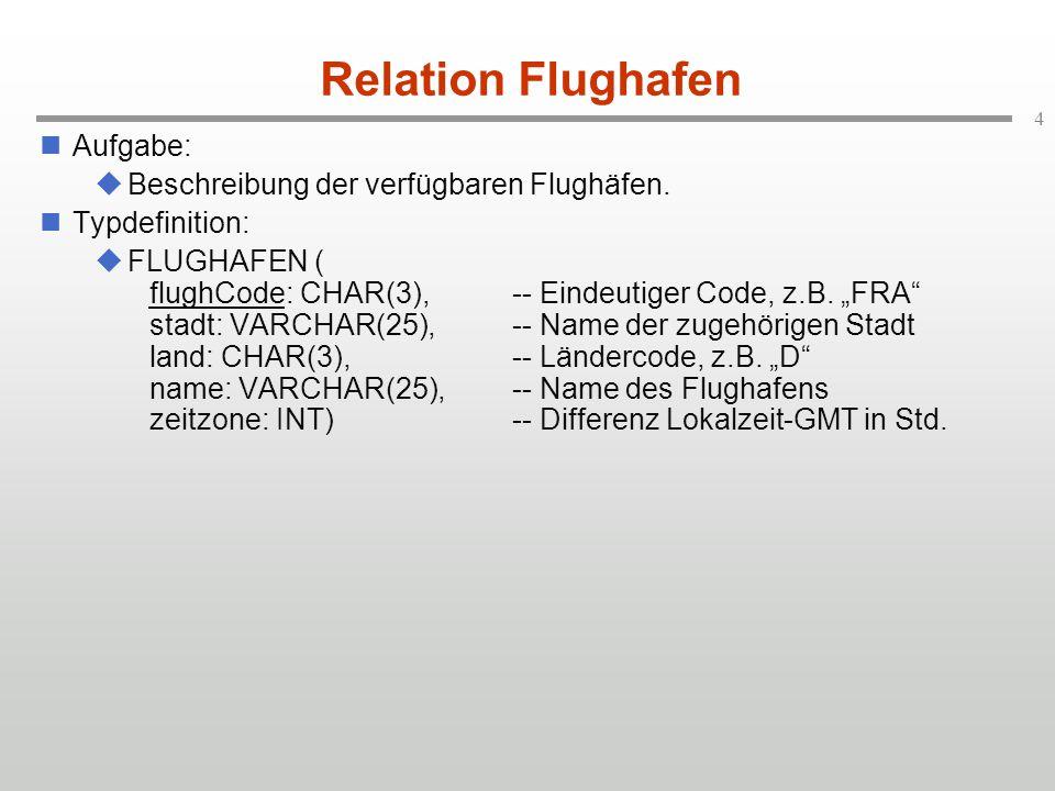Relation Flughafen Aufgabe: Beschreibung der verfügbaren Flughäfen.