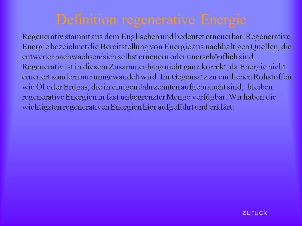 Definition regenerative Energie