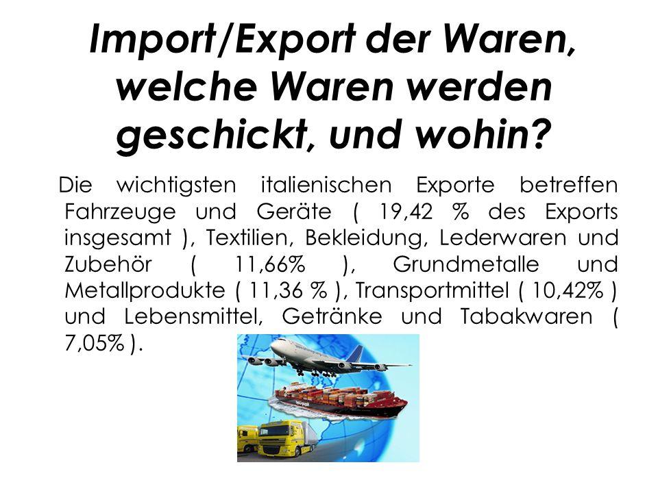 Import/Export der Waren, welche Waren werden geschickt, und wohin
