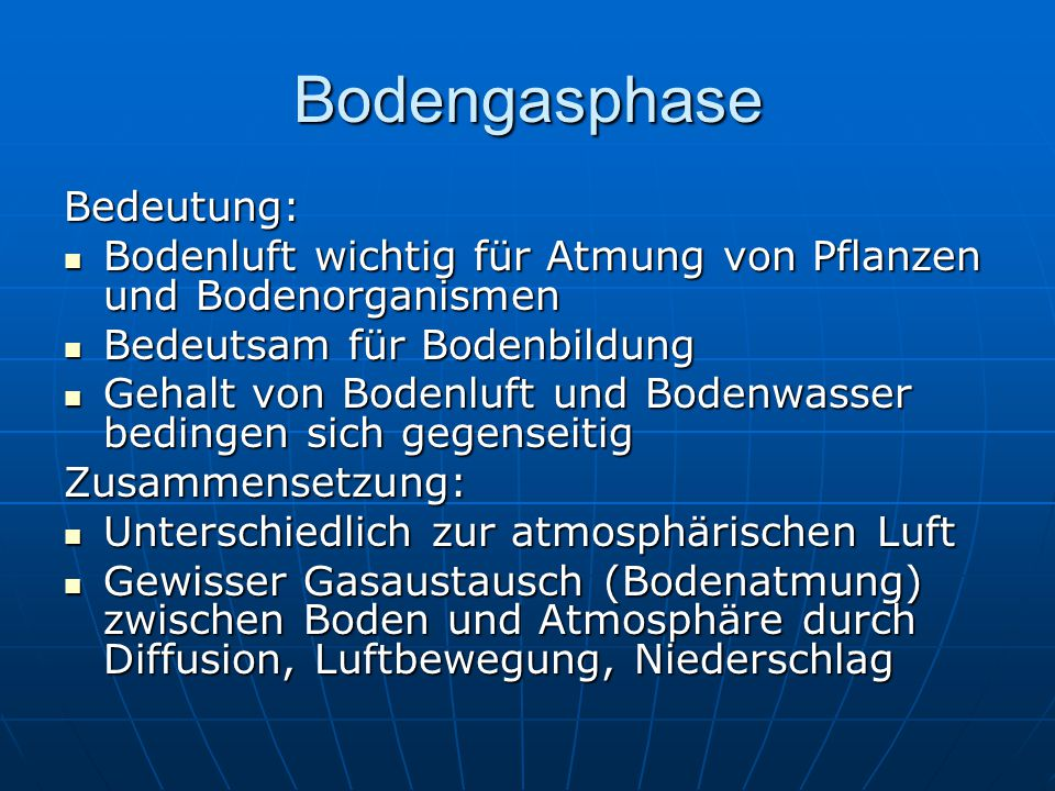 Bodengasphase Bedeutung: