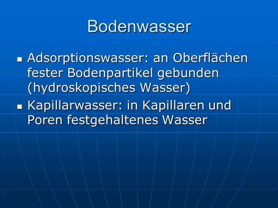 Bodenwasser Adsorptionswasser: an Oberflächen fester Bodenpartikel gebunden (hydroskopisches Wasser)