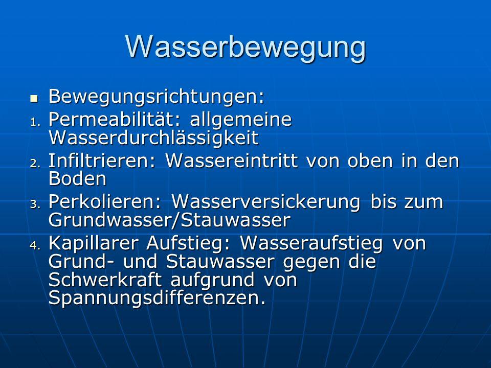 Wasserbewegung Bewegungsrichtungen: