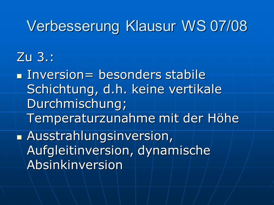 Verbesserung Klausur WS 07/08