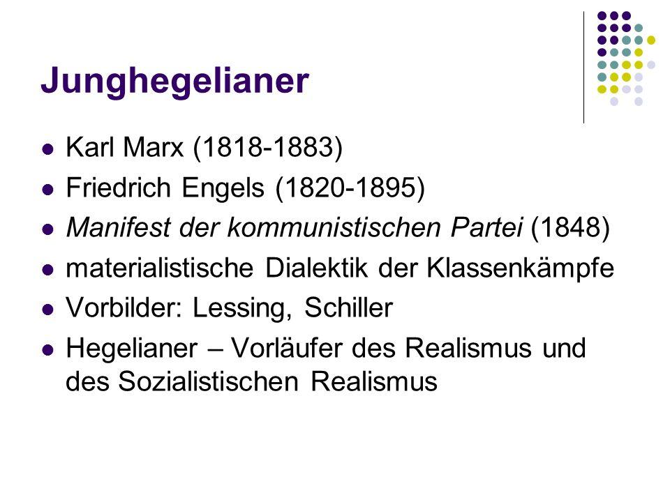 Junghegelianer Karl Marx (1818-1883) Friedrich Engels (1820-1895)