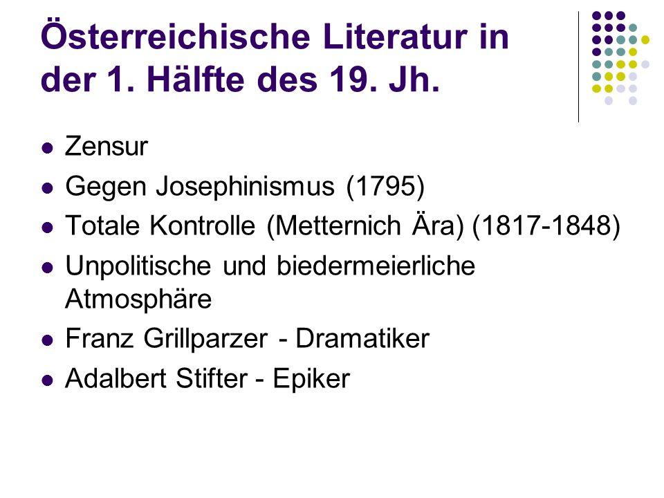 Österreichische Literatur in der 1. Hälfte des 19. Jh.