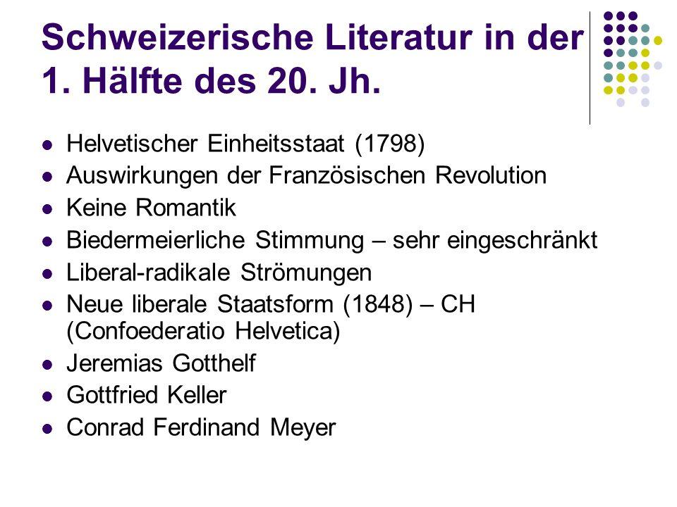 Schweizerische Literatur in der 1. Hälfte des 20. Jh.