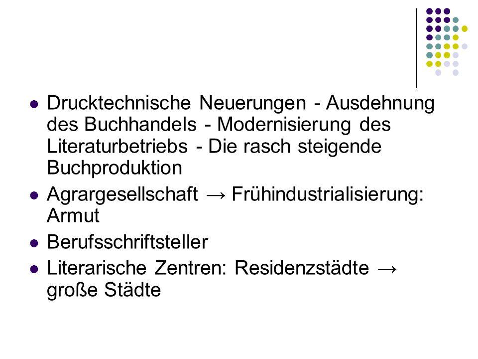 Drucktechnische Neuerungen - Ausdehnung des Buchhandels - Modernisierung des Literaturbetriebs - Die rasch steigende Buchproduktion