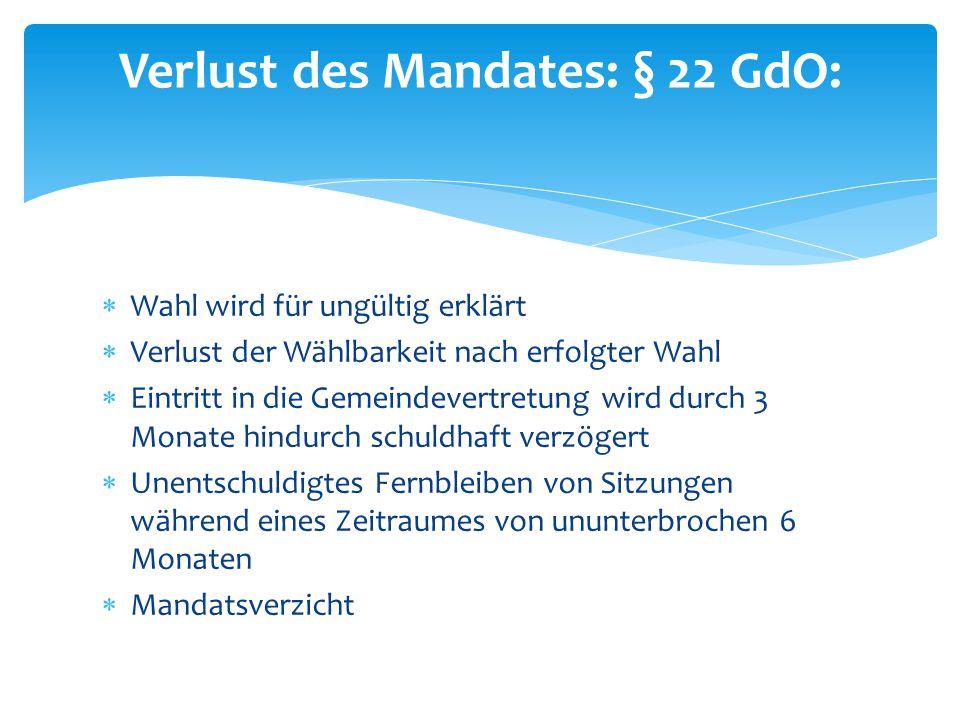 Verlust des Mandates: § 22 GdO: