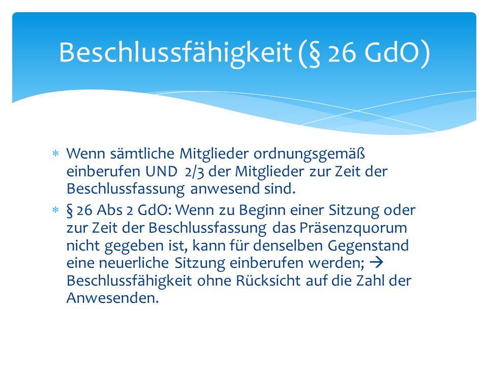 Beschlussfähigkeit (§ 26 GdO)