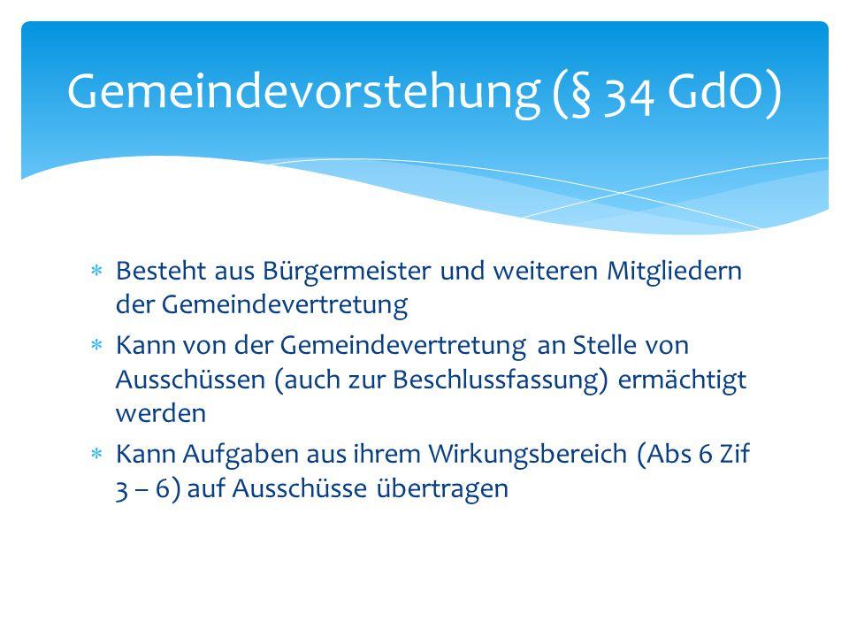 Gemeindevorstehung (§ 34 GdO)