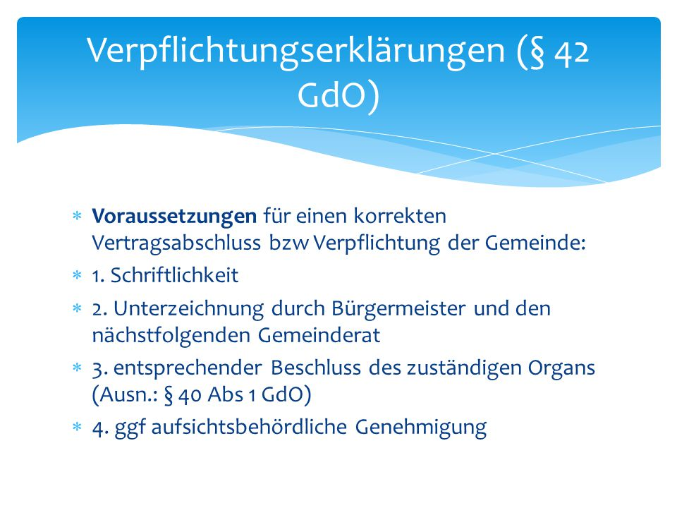 Verpflichtungserklärungen (§ 42 GdO)