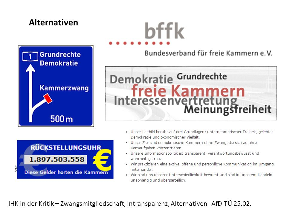 Alternativen IHK in der Kritik – Zwangsmitgliedschaft, Intransparenz, Alternativen AfD TÜ 25.02.