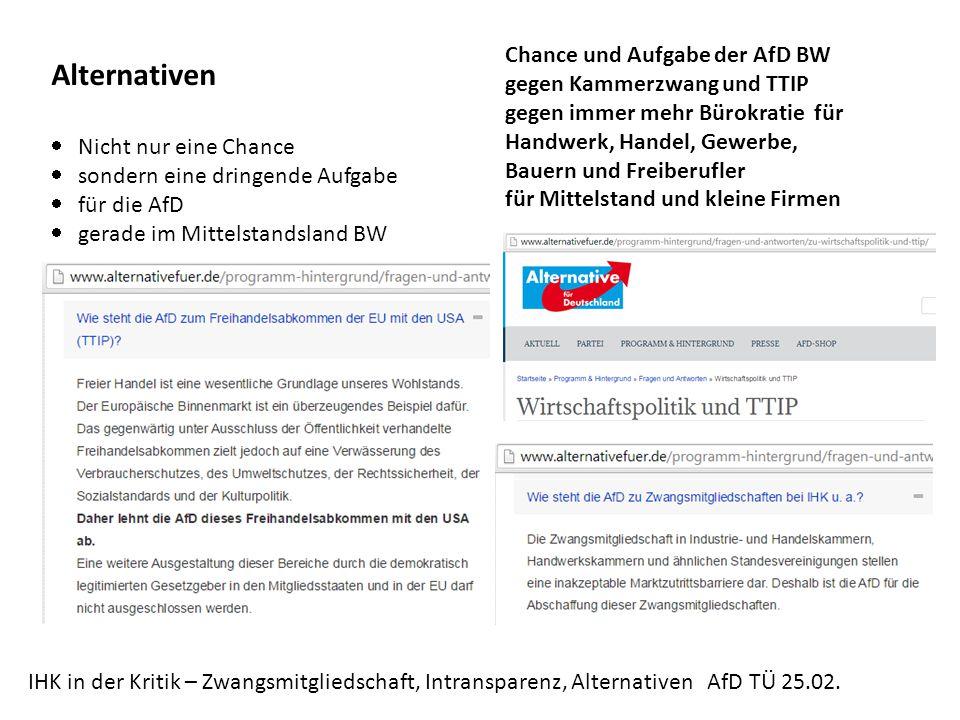 Alternativen Chance und Aufgabe der AfD BW gegen Kammerzwang und TTIP