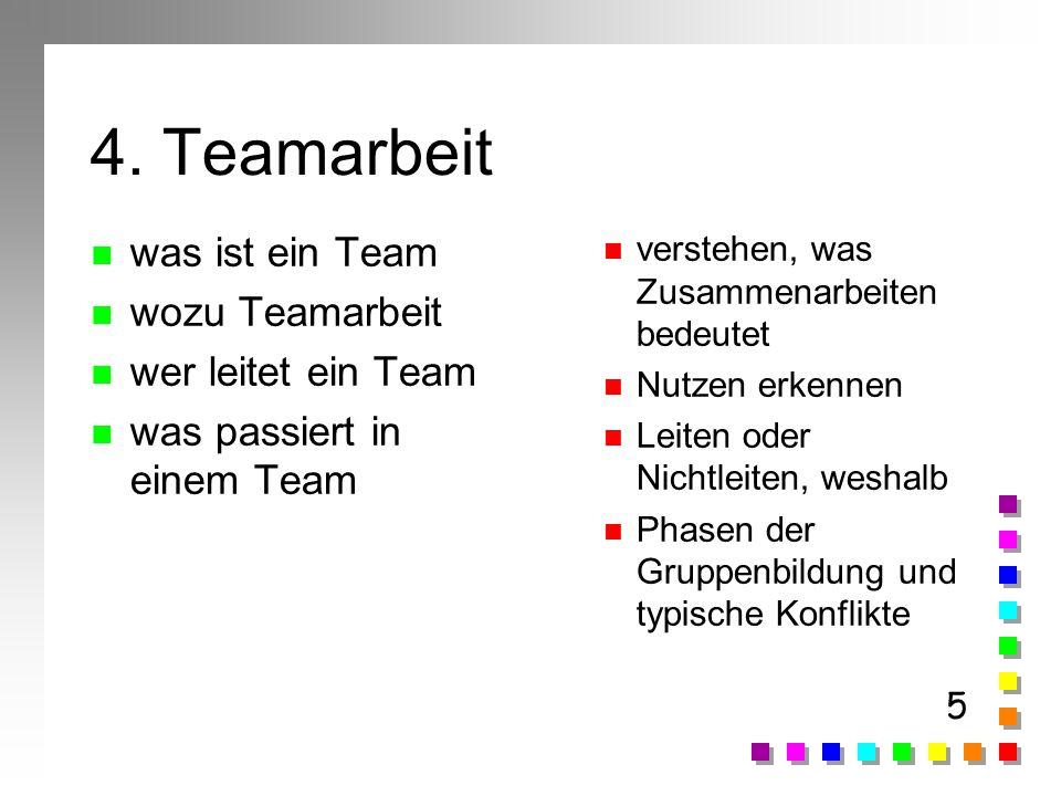 4. Teamarbeit was ist ein Team wozu Teamarbeit wer leitet ein Team