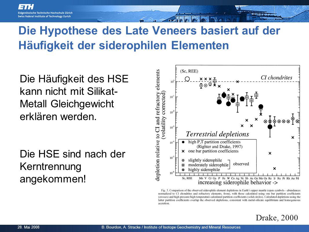 Die Hypothese des Late Veneers basiert auf der Häufigkeit der siderophilen Elementen