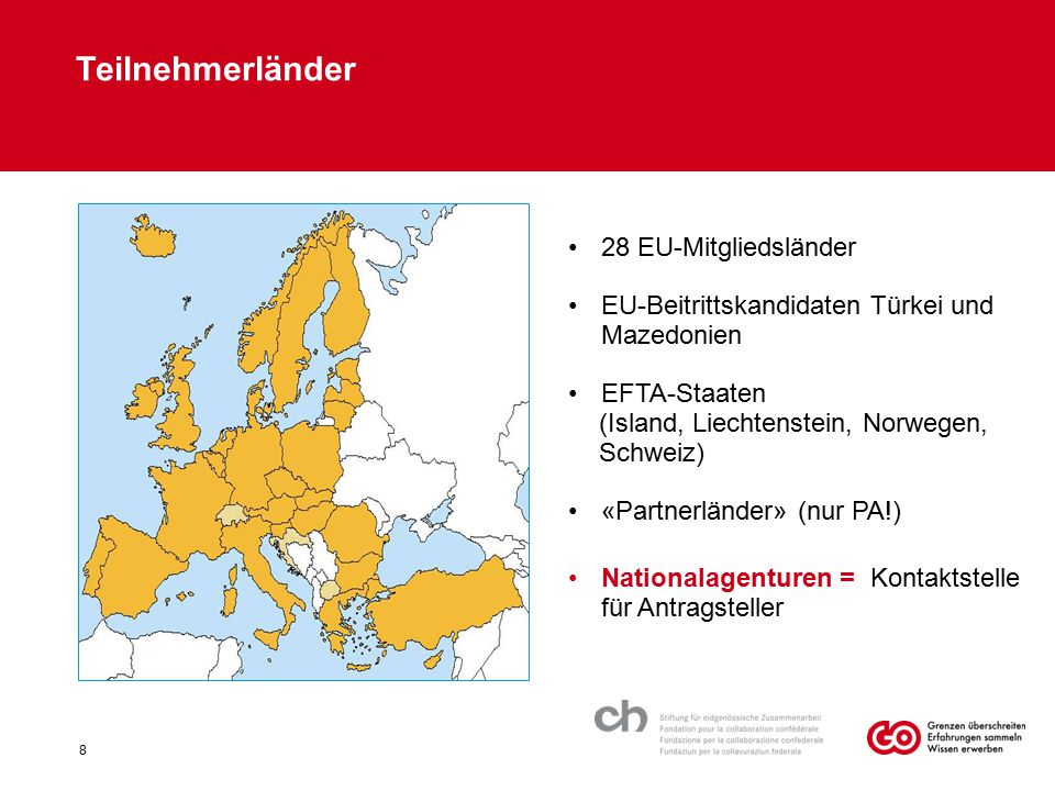 Teilnehmerländer 28 EU-Mitgliedsländer